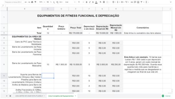 Tabela de Depreciação de Equipamentos